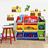 Songmics XL spielzeug regal Kinderregal Kinderzimmerregal mit Kippschutz 86 cm lang inkl. 3 große + 6 kleine Kästen GKR02W - 2