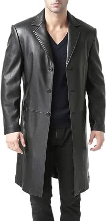 BGSD Men's Classic Leather Long Walking Coat (Regular, Big & Tall and Short)