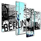 Kunstdruck - Abstrakte Kunst Berlin 06a - schwarz weiss - 120x80cm - 4teilig - Bild auf Leinwand - Wandbild - Leinwanddruck - Wanddeko - Dekoration