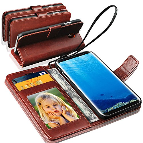 N+ INDIA Samsung Galaxy S8 Rich Leather Stand Wallet Flip Case Cover Book Pouch / Quality Slip Pouch / Soft Phone Bag (Specially Manufactured – Premium Quality) Antique Leather Case Brown For Samsung Galaxy S8