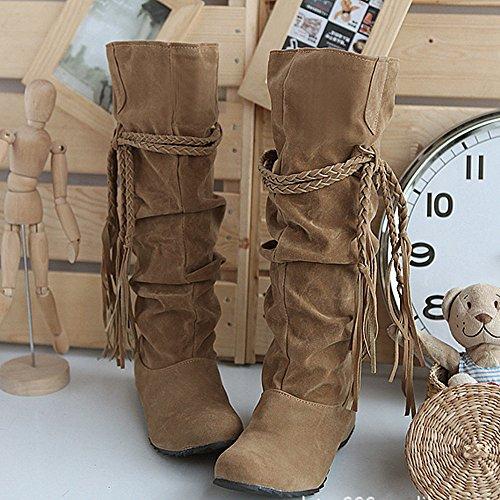 Allence Damen Stiefel High-Heel Stiefel Boots rutschfest Winterstiefel Elegant Schuhe mit Fransen Stiefel Schwarz Beige Gelb Gr.37-43