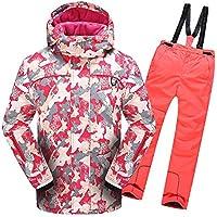 Gimitunus Chaqueta de esquí con Capucha y Pantalones Impermeables, a Prueba de Viento, para niños, cálidos y Resistentes al Viento, con 2 pzs. (Color : Rojo, tamaño : 116)