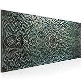 Bilder Mandala Abstrakt Wandbild 100 x 40 cm Vlies - Leinwand Bild XXL Format Wandbilder Wohnzimmer Wohnung Deko Kunstdrucke Grün 1 Teilig -100% MADE IN GERMANY - Fertig zum Aufhängen 109412a