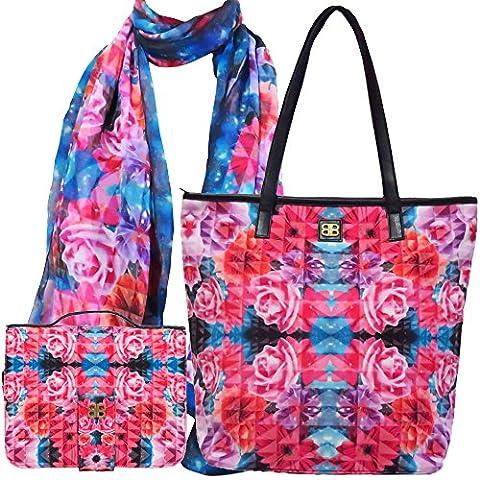Bagabook Bouquet design Daily Essentials Lot: Sac fourre-tout Sac à bandoulière + écharpe fashion + livre Housse de transport