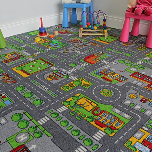 Children' s play village mat town city roads tappeto,, poliammide, grey, 140 x 200 cm