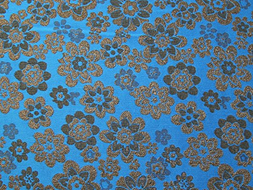 Minerva Crafts Floral Gewebe der Metallic Brokat Kleid Blau – Meterware (Brokat-kleid Blau)