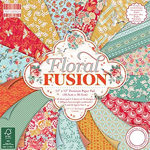First Edition Floral Fusion Premium Paper Pad 12