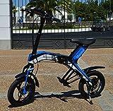 """Bicicleta scooter eléctrica 300W 14"""" plegable MouneK M-01 batería Litio 48V 4,4A precio oferta muy barata velocidad de 25 km/h autonomía 25 km Pesa 17kg Soporta 120kg de peso scooter para pasear por ciudad (Azul)"""