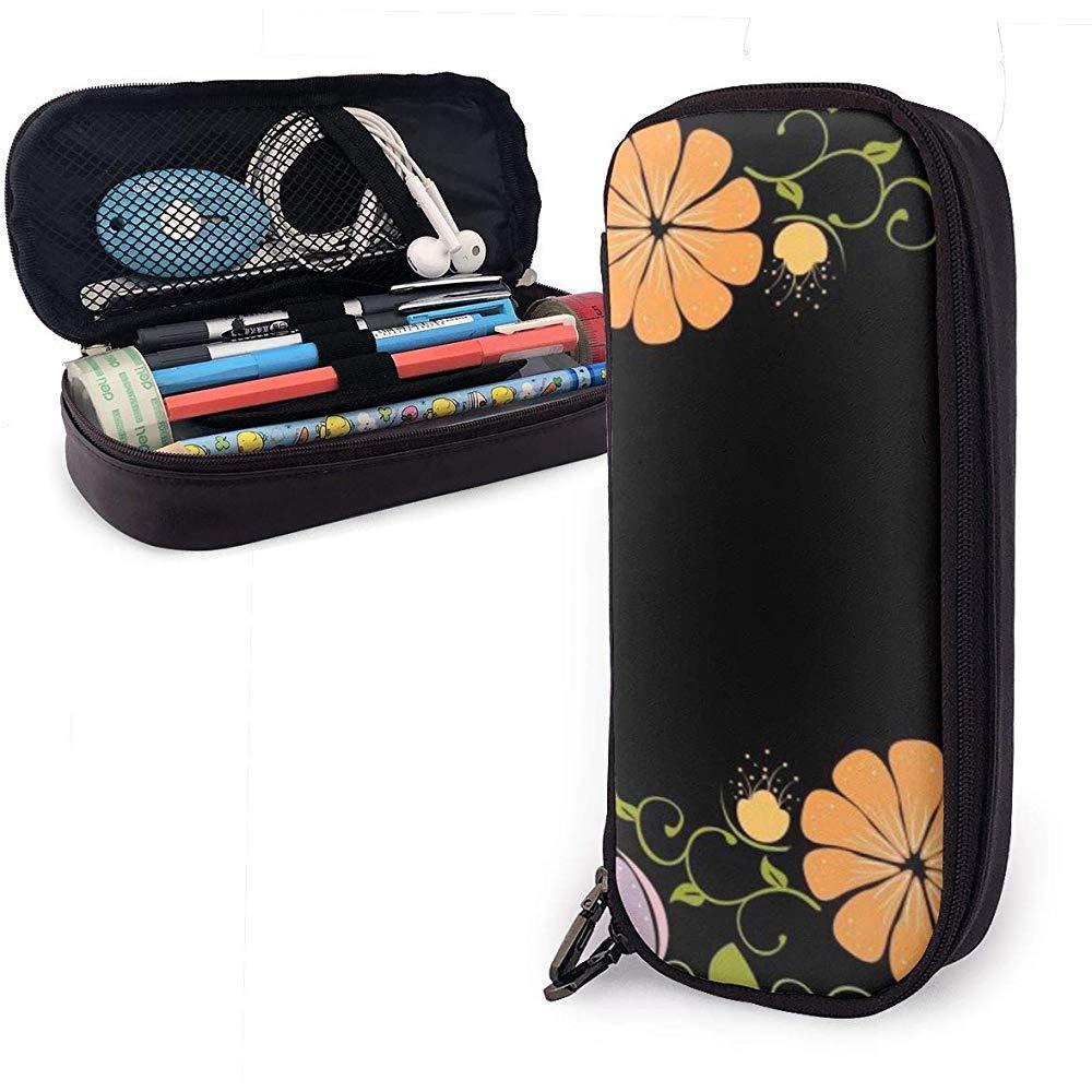 Estuche de lápices de cuero de PU en flor oscura, bolsa de bolígrafo de gran capacidad, organizadores de papelería…