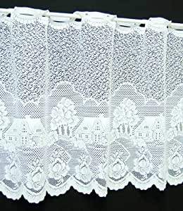 Rose Cottage Café Net Curtain in White. 24Inch Drop. Sold By The Metre.