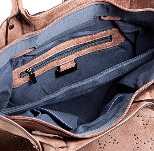 LIBERTA Sternen Tasche LI1048 Damen Sterntasche Schultertasche 34x32x12 cm (BxHxT), Farbe:Bordeaux Schwarz
