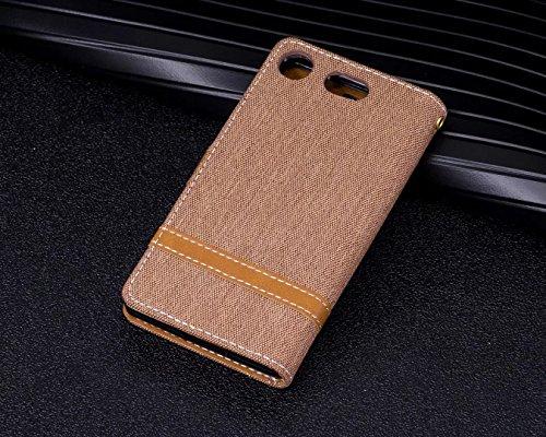 LEMORRY Sony Xperia XZ1 Compact Custodia Pelle Cuoio Flip Portafoglio Borsa Sottile Bumper Protettivo Magnetico Morbido Silicone TPU Cover Custodia per Sony XZ1 Compact, Stile del Denim Blue Marrone