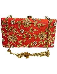Arisha Kreation Co Gota Patti Hand Work Bridal box Clutch Using Raw Silk Fabric (Orange)