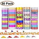 GCOA 50 Rollos Washi Tape Cinta Adhesiva Washi Glitter Adhesivo de Cinta Decorativa para DIY Crafts Scrapbooking