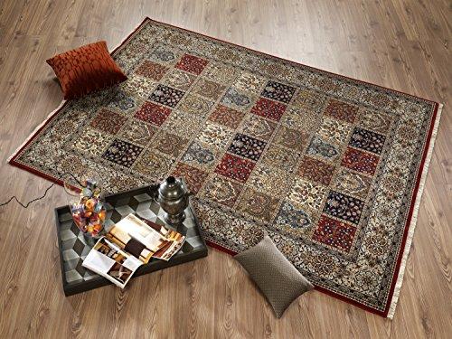 TIWA GHOM echter klassischer Orient-Felder-Teppich handgeknüpft in rot-creme, Größe: 80x200 cm