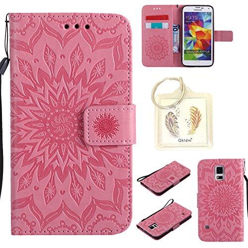 Preisvergleich Produktbild für Samsung Galaxy S5 / S5 Neo Geprägte Muster Handy PU Leder Silikon Schutzhülle Handy case Book Style Portemonnaie Design für Samsung Galaxy S5 (i9600) + Schlüsselanhänger/*17 (1)