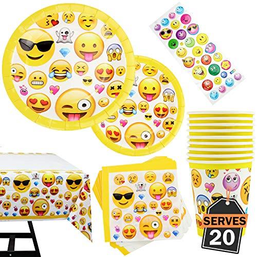 Set da 81 Pezzi di Emoji Decorazioni per Festa di Compleanno - Inclusi Piatti, Tazze, fazzoletti e tovaglioli Personalizzati e Bonus Decalcomanie Emoji, 20 Portate