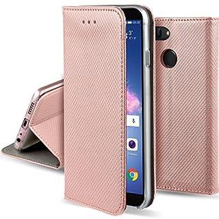 Moozy Hülle Flip Case für Huawei P Smart, Rose Gold - Dünne magnetische Klapphülle Handyhülle mit Standfunktion