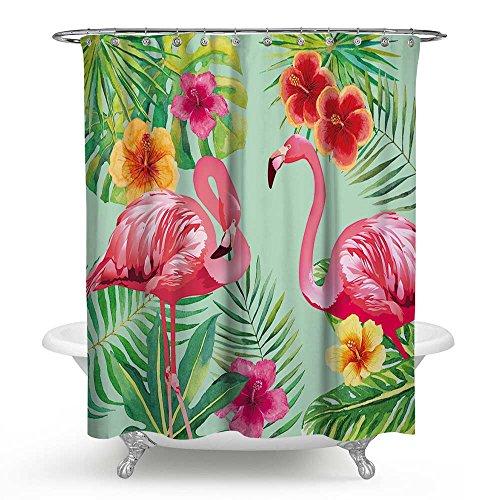 Orange Grün Und Duschvorhang (kisy Pink Paar Flamingo Wasserdicht Bad Duschvorhang TROPICAL grün Palm Blätter orange Floral Summer Holiday Blue Sky Badezimmer Dusche Vorhang Standard Größe 177,8x 177,8cm pinl grün)
