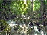 PerfectHD Zaunsichtschutz, Windschutz (30 Versch. Motive) für Doppelstabmattenzaun *Wasserfall* einseitig, 19cm, 9 Streifen