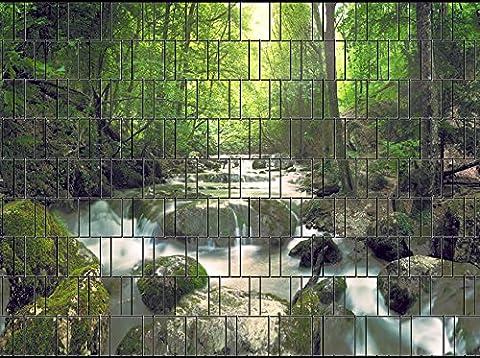 Zaunsichtschutz, Windschutz (27 versch. Motive) für Doppelstabmattenzaun *Wasserfall* einseitig, 19cm, 9 Streifen
