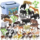 Touchmark Tier Spielzeug Set, 44 Stücke Mini Spielzeug Set von Dschungel Tieren, Tierwelt Figuren, lebensechte Wildtiere Spielzeuge für Jungs und Kinder