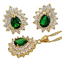 Rizilia Jewellery 18K Yellow Gold Plated Pear Cut Prong Setting Green Emerald Color Gem Slide Pendant Curb Chain Necklace With (Length 46cm/18inch ) Stud Earrings Jewelry Set[Free Jewelry Box]