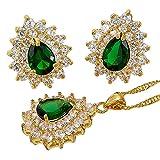 Regalos de Navidad Verde esmeralda flor de la corona de pera Corte colgante, collar de joyería de los pendientes Set