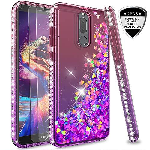 LeYi Hülle Huawei Mate 10 Lite Glitzer Handyhülle mit Panzerglas Schutzfolie(2 Stück),Cover Diamond Rhinestone Bumper Schutzhülle für Case Huawei Mate 10 Lite Handy Hüllen ZX Gradient Pink Purple