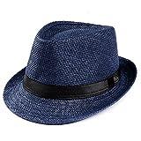 Lonshell_Damen Cap Fedora Hut Damen Herren Panama Sonnenhut Faltbarer Strohhut Trilby Gangster Hut mit Sonnenschutz breite Krempe (Navy)