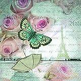 20 Stück Serviette 25x25 cm Romantisch in Paris Eiffelturm Butterflies Cocktail