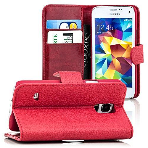 Saxonia Tasche iPhone 7 Hülle Flip Case Schutzhülle Cover Handytasche Wallet mit Kartenfach Braun Rot