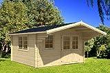 Gartenhaus GÖTEBORG A 70 Blockhaus 410 x 410 cm + 150 cm Vordach Holzhaus 70 mm