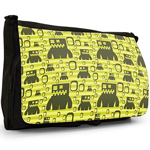 Monsterroboter Grün Große Messenger- / Laptop- / Schultasche Schultertasche aus schwarzem Canvas