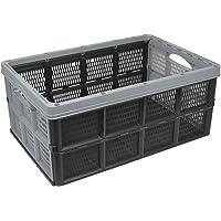com-four® Klappbox mit Griffmulden, klappbarer Einkaufskorb in grau, 32 Liter (50.5x33x22cm - 01 Stück - grau)