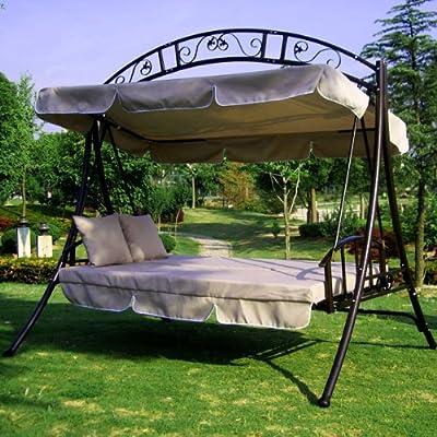 LUXUS Hollywoodschaukel-Gartenschaukel mit Bettfunktion -Breite 215cm-Höhe 219cm-Tiefe 160cm -Modell:GEA-Creme-Belastung 200Kg