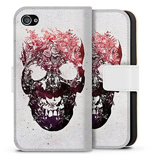 Apple iPhone X Silikon Hülle Case Schutzhülle Totenkopf Skull Schädel Sideflip Tasche weiß