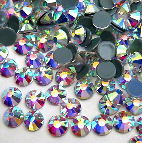 jollin Kristalle Flatback Strasssteine Glas Glitzerelementen Gem Glitzersteine, Hotfix Crystal AB, SS20 1440pcs Ab Glas