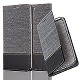Cadorabo Hülle für OnePlus 5 - Hülle in GRAU SCHWARZ – Handyhülle mit Standfunktion und Kartenfach im Stoff Design - Case Cover Schutzhülle Etui Tasche Book
