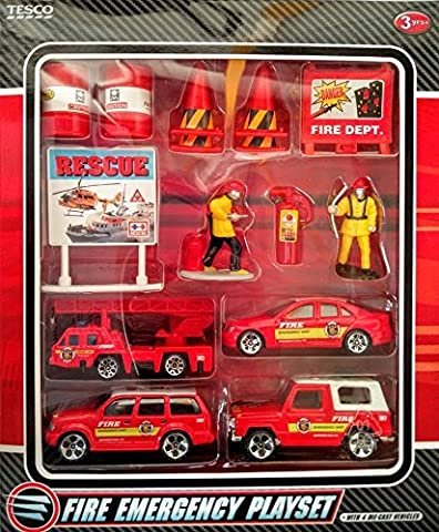 Fire Emergency Playset- 15 Pieces Including 4 Die-cast Fire Engines/ Vehicles