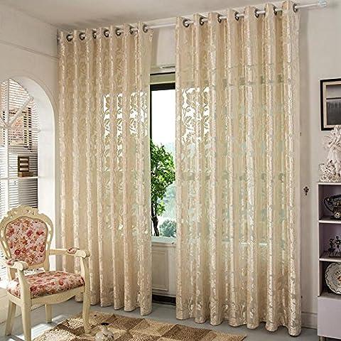 Voilage Vitrage Premium Transparente Jacquard brodée creux Salon/drapé/panneaux/Traitement Taille 101,6x 279,4cm