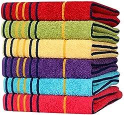 AKIN TOWEL Cotton 550 GSM Hand Towel (Bright Multicolour, 40x60cm) - Set of 6 Piece