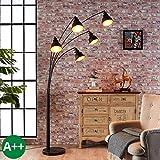 Lampenwelt Stehlampe (Bogenleuchte) 'Lira' (Modern) in Schwarz aus Metall u.a. für Wohnzimmer & Esszimmer (5 flammig, E27, A++) - Bogenlampe, Stehleuchte, Floor Lamp, Standleuchte, Wohnzimmerlampe