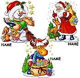Unbekannt 2 Stück _ Fensterbilder -  Winter & Weihnachtsmotive  - incl. Name - statisch haftend - selbstklebend + wiederverwendbar / Weihnachten - Sticker Fensterstic..
