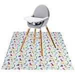 Winthome Highchair Splash Mat Baby, Paint Splash Mat Large, Protective Floor Splash Mat, Waterproof and Anti Slip (43.3X43.3'' Animal)