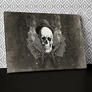 Skull Smoking Aces Grey Canvas Wall Art, Framed Ready to Hang Picture Print AB241