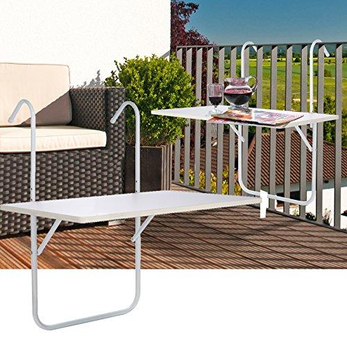 Balkon Klapptisch Balkontisch von JEMIDI Klappbar Platzsparend und ohne Werkzeug montierbar Hängetisch Klapp Tisch Weiss Balkonhängetisch