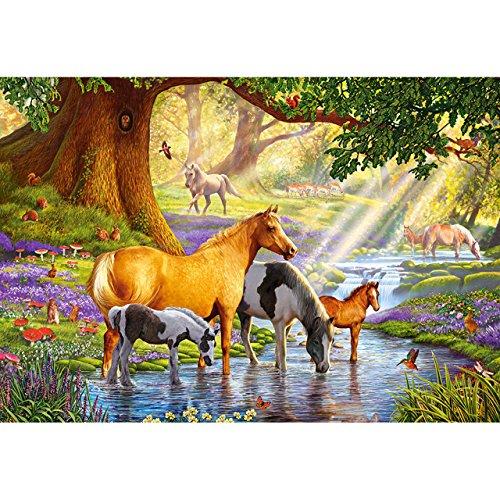 alles-meine.de GmbH Puzzle 1000 Teile -  Horses by The Stream  - Pferde am Fluss / Wildpferde Pferd Stute Hengst Araber Schimmel Schecke Mustang - Wildtiere - Haustier Tiere Ge.. -