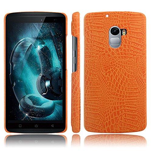 Lenovo Vibe X3 Lite Hülle, CHENXI Slim Krokodil Textur Hard PC Schutzhülle Abdeckung Schutz Handy Case für Lenovo Vibe X3 Lite Orange