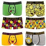 Smiley World 6er Pack (5+1GRATIS) lustige Unterhose Boxershort Pant Underwear Geschenk Herren Jungen modisch witzig frech 95% Baumwolle (s)